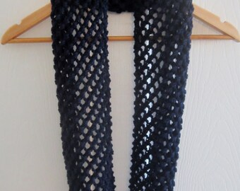 Knit Infinity Scarf - Navy Blue Acrylic Circle Scarf Knit by Hand - Hand Knitting