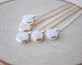 Mystic White Druzy Necklace, White Druzy Jewelry, Druzy Necklace