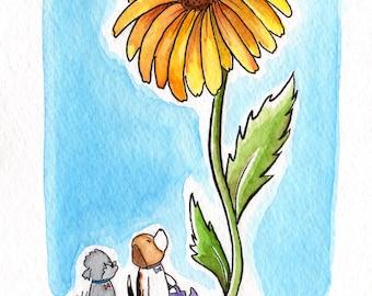 LeGoosey Lu, What a Big Flower, 5x7 Watercolor Print