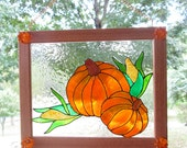 Fall Harvest Pumpkins and Corn -  Stained Glass Look - Fall Thanksgiving Decor - Framed Art -  Fall Window Decor - Thanksgiving Home Decor