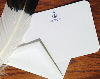 Nautical Stationery for Men or Women, Monogrammed Stationery Set, Monogram Correspondence Cards, Monogram stationary note cards