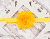 Yellow Rosette Headband-Baby Headband-Shabby Chic Flower Headband-Girls Shabby Hairbow-Girls Headband-Baby Hairbow-Headband