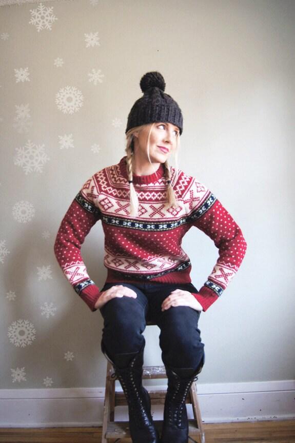 Scandinavian Style Sweater Nordic Fair Isle Wool Red