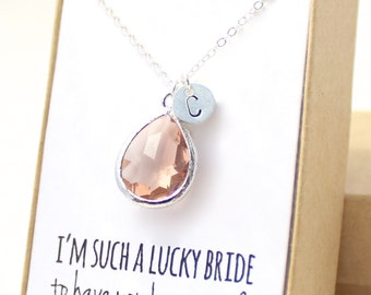 Peach Champagne / Silver Teardrop Necklace - Peach Champagne Bridesmaid Necklace - Bridesmaid Gift Jewelry - Peach and Silver Necklace - NB1