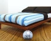 Dollhouse Furniture Modern Blue Brown White Stripe Queen bed 1:12 scale
