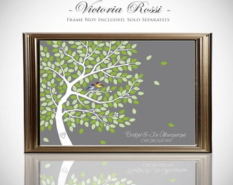 Wedding Tree Guest Book Poster // Guest Book Tree // Fits 55-200 Guests // Available In 16x20 or 24x36 Inches // Gallery Wrapped Canvas