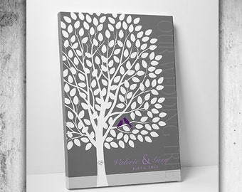 Wedding Gift - Wedding Guest Book Alternative - Guest Book Tree 55-150 Signatures - Canvas or Print 16x20 Inches - FREE SHIPPING