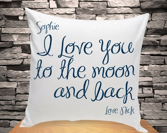 Personalized Throw Pillow | I Love You to the Moon and Back Throw Pillow | Home Decor Decorative Pillow (1210)