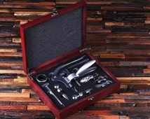Personalized 7pc Wine Accessories  Tool Kit Gift Set Engraved or Monogrammed on Cherry Wood (024311)