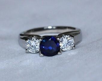 2ct Natural Blue Sapphire and White Sapphire Titanium Trellis Trilogy ring  - handmade engagement ring
