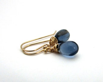 Small navy blue drop earrings, midnight blue glass earrings, gold filled glass jewelry, dark blue earrings, delicate jewelry, Czech glass