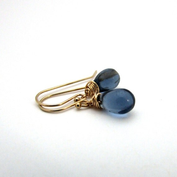 Small Blue Earrings: Small Navy Blue Drop Earrings Midnight Blue Glass Earrings