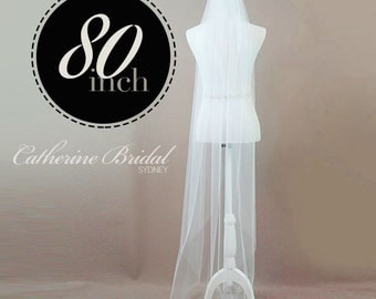 """IVORY / WHITE Single Tier Chapel Veil 80"""" Floor Length made from Soft Bridal  Tulle - 1 Tier"""
