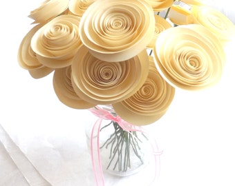 Cream Paper Flowers, Ivory Paper Flowers, Wedding Paper Flowers, Paper Flower Bouquet, Off-White Wedding Flowers, Dozen Paper Roses