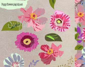 Instant download Floral clip art flowers and leaves 20 + items in large high quality png
