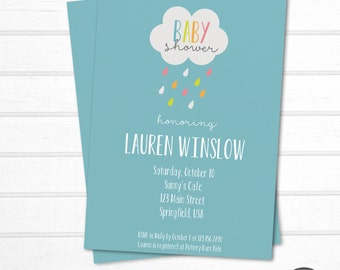 Modern Baby Shower Invitation - Simple Baby Shower Invitation - Cloud Baby Shower - Baby Sprinkle Invitation - Printable Baby Shower Invite