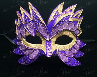 Carnival Masquerade Mask, Gorgeous Purple and Gold Mask, Circus Inspired Costume Mask