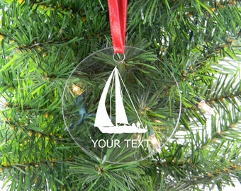 Personalized Custom Sail Boat Clear Acrylic Christmas Tree Ornament with Ribbon