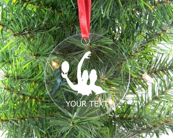 Personalized Custom Water Polo Player Clear Acrylic Christmas Tree Ornament