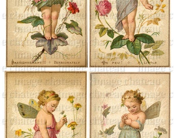 4 FAIRY cards WILD FLOWERS French Trade Cards  Digital Download Scrapbook Cute Girls Butterfly Wings