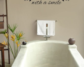 Begin each day with a smile wall decal vinyl sticker quote for A bathroom item that starts with s