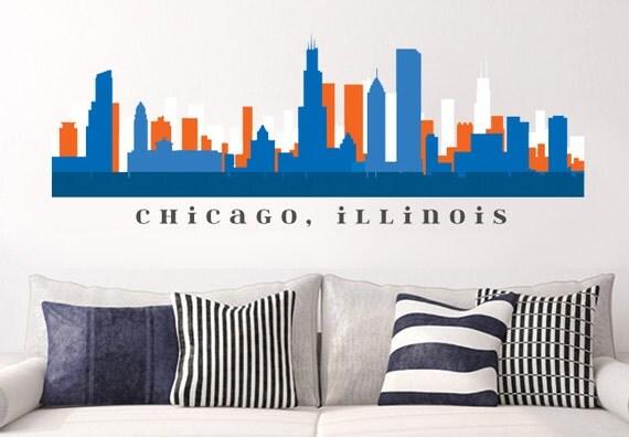 Chicago bears skyline nfl football team colors wall decal for Good look chicago skyline wall decal