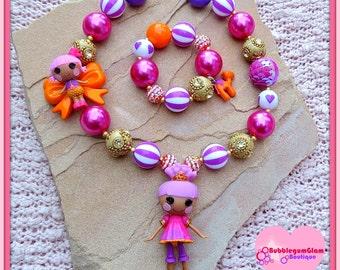 Lalaloopsy necklace, Lalaloopsy sisters, Sahara Mirage, Pita Mirage, bubblegum necklace, chunky necklace, bracelet set