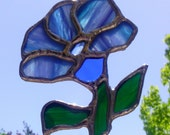Stained Glass Sun Catcher Blue Spring Flower Suncatcher Blue Tiffany Glass Art Garden Decoration Ready to Ship Gift Idea
