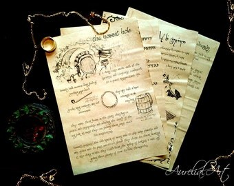 Lord of the Rings inspired Journal pages - tolkien hobbit wizard elf dwarf, book pages, fantasy story, runes elvish, magic symbols