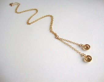 Golden Shadow Swarovski Crystal Gold Filled Lariat Necklace - Handmade Jewelry - Bridesmaid Necklace - Bridal Necklace - Minimalist Jewelry