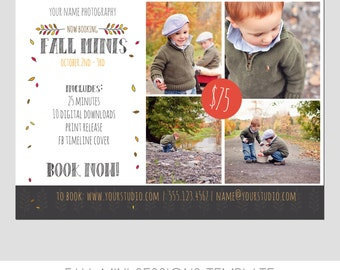 Mini Photography Sessions Template  - Modern -  Fall - Children - Pumpkin Patch - Portraits - 5x7 - Flyer - Digital