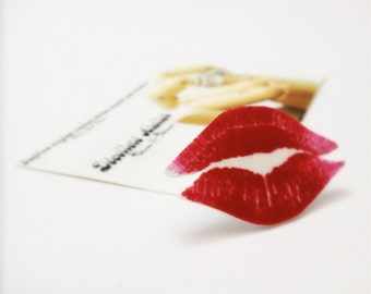 Perfect Red All Over SWAK Lips Tie Tack/Lapel Pin - Wearable Kiss Colour Illustration Brooch