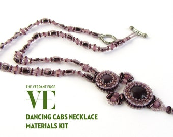 Dancing Cabs Necklace Materials Kit for pattern in June/July 2014 Beadwork Magazine in purple with rulla beads