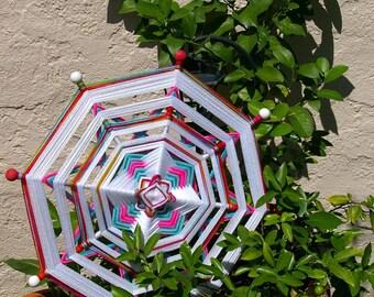 """24"""" Mandala Woven Yarn Art - Ojo de Dios Wall Hanging - White Spirit"""