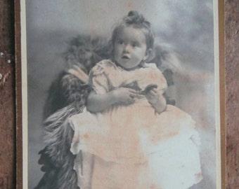 Pretty Baby on a Bearskin Rug Cabinet Card - Herbert C Wharton & Co Studio - 1870's London