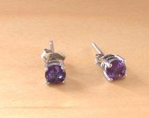 Amethyst Stud Earrings/Sterling Silver Amethyst Earrings/ Purple Gemstone Earrings/Amethyst Jewellery/Amethyst Jewelery/Amethyst jewelry