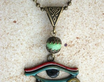 Egyptian Eye of Horus Necklace with added Colors Effect Antique Bronze Necklace Pendant Eye of Horus