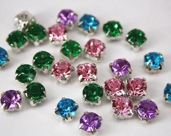 sew on rhinestone 6mm round bead facet claw silver setting cute flat back jewellery accessory handcraft fashion gem like acrylic