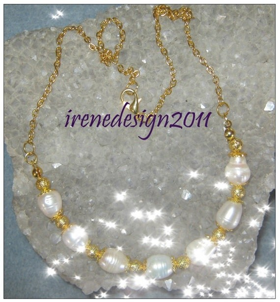 Handmade Gold Jewelry Set with White Sea Pearls by IreneDesign2011