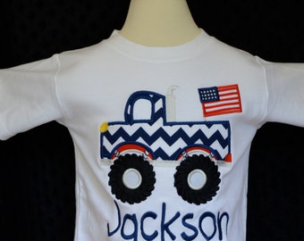Personalized 4th of July Patriotic Flag Monster Truck Applique Shirt or Onesie Girl Boy