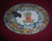 Pattern for WELCOME SHEEP~~a sheep painted with a pineapple and with vines around the edge that has starsand berries