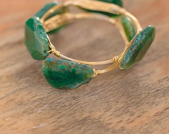 Green Agate Wire Wrapped Gold Bangle