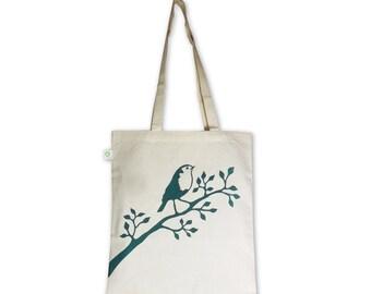 Robin / eco tote bag / handprinted with petrol robin