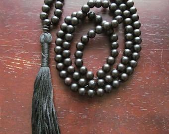 108 Bead Black Ebony Mala Beads, Traditional Mala, Japa Mala, Yoga Necklace, Tassel Necklace, Meditation Beads, Long Necklace, Yoga Jewelry