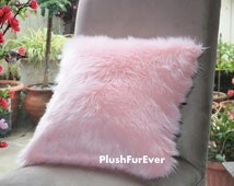 "17""x17"" Pink Luxury Shaggy Fur Pillows Faux Fake Fur Pillow (INSERT INCLUDED) Bedding Sofa Pillows decor"