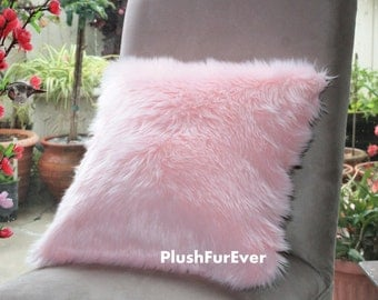 """17""""x17"""" Pink Luxury Shaggy Fur Pillows Faux Fake Fur Pillow (INSERT INCLUDED) Bedding Sofa Pillows decor"""
