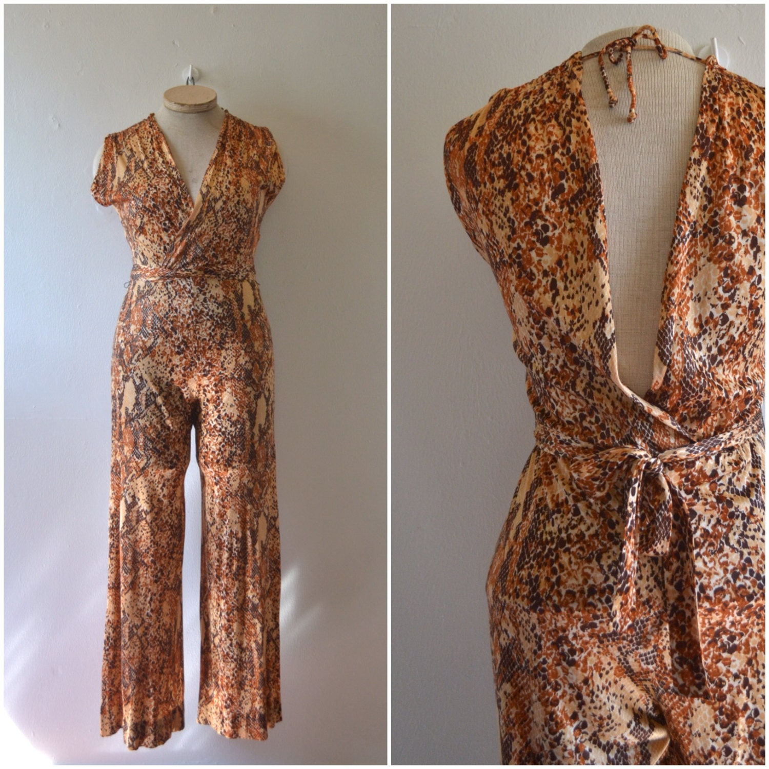 1970s disco-era snakeskin jumpsuit // dancing queen silky