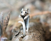 Mouse Ring Women's Girl's Retro Burnished Rat Animal Ring Jewelry Adjustable Free Size Wrap Ring Black Crystal gift idea