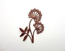 1 x 48x35mm Natural Brass Queen Anne's Lace Pendant, Vintaj Pendant Charm, Queen Anne's Lace Connector CHM0017
