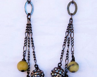 Lightning Strike Earrings - serpentine, swarovski pave ball and matte white stripe agate
